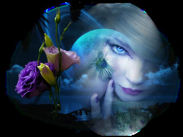 femme et rose bleu
